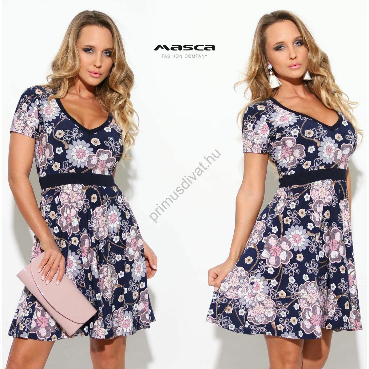 022fab08de Kép 1/1 - Masca Fashion V-nyakú fehér-lila domború virágmintás, loknis  szoknyarészű rövid ujjú sötétkék alkalmi miniruha