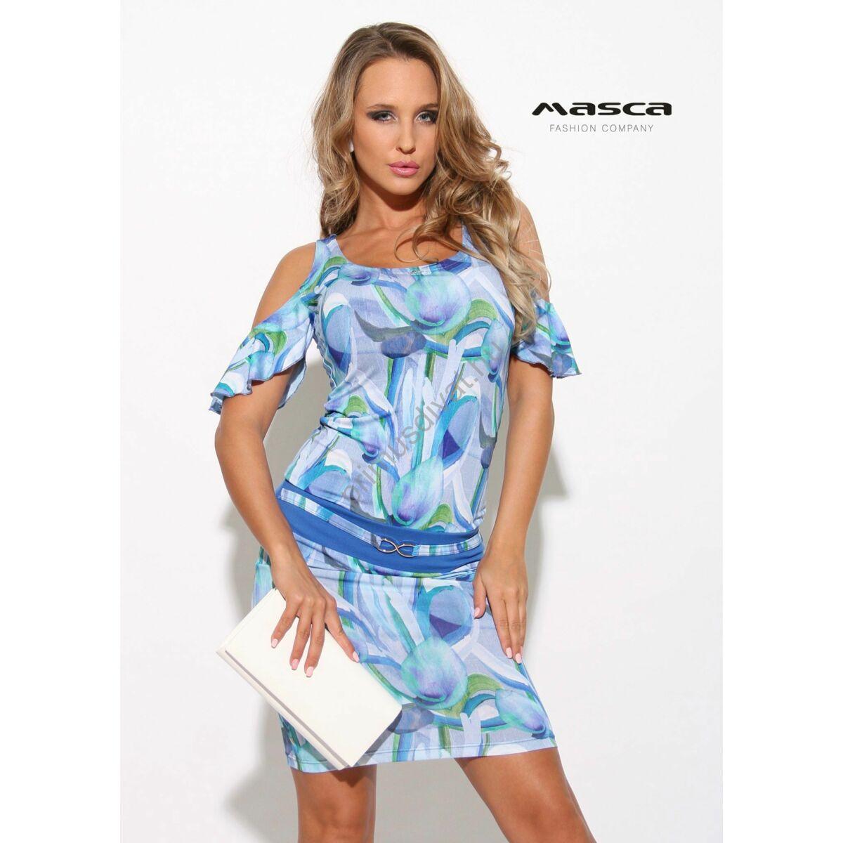d2c8851c3e Kép 1/1 - Masca Fashion nyitott vállú fodros rövid ujjú kék-zöld mintás szűk  miniruha, elején övpánttal