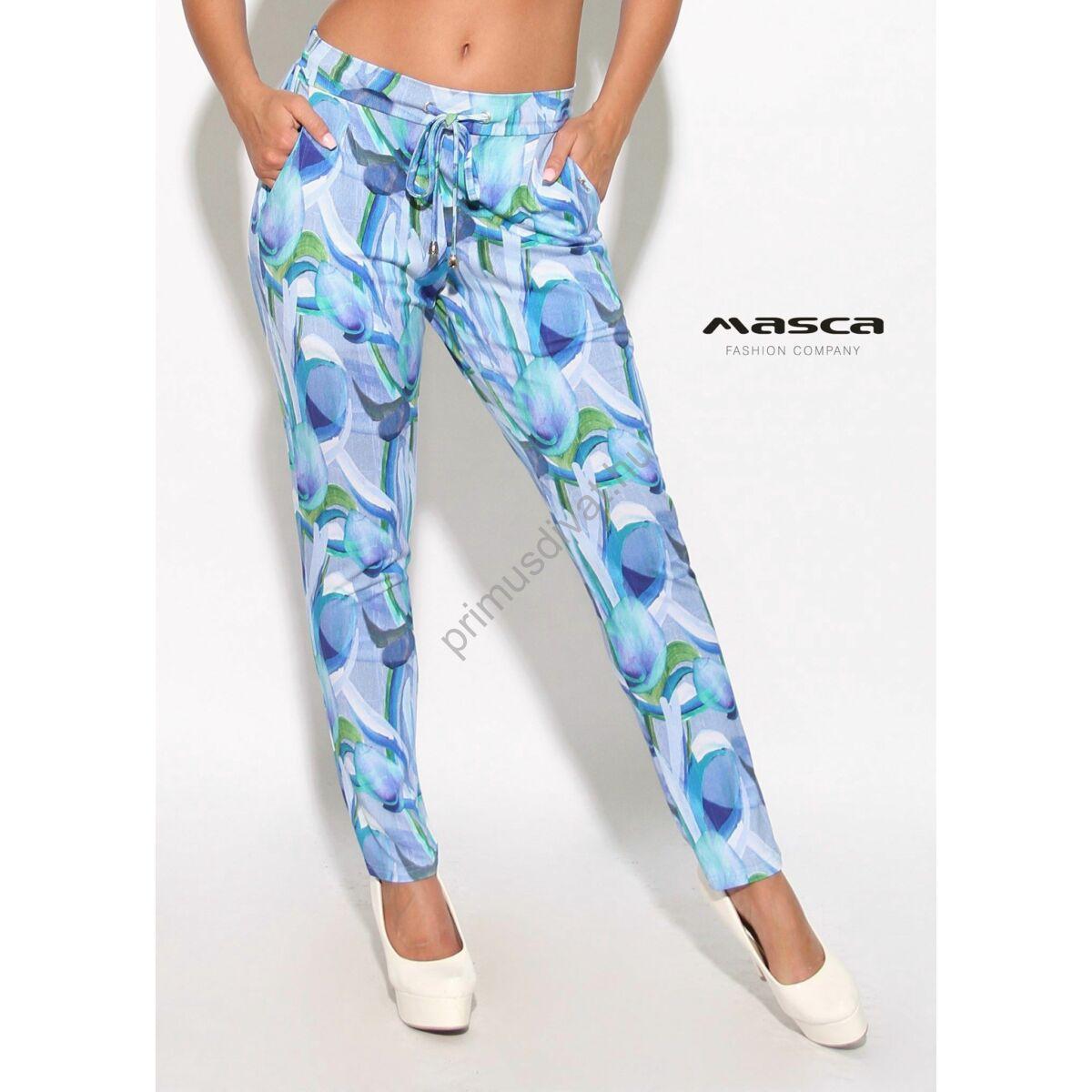 810ff1d993 Kép 1/1 - Masca Fashion kötős derekú zsebes kék-zöld mintás nadrág