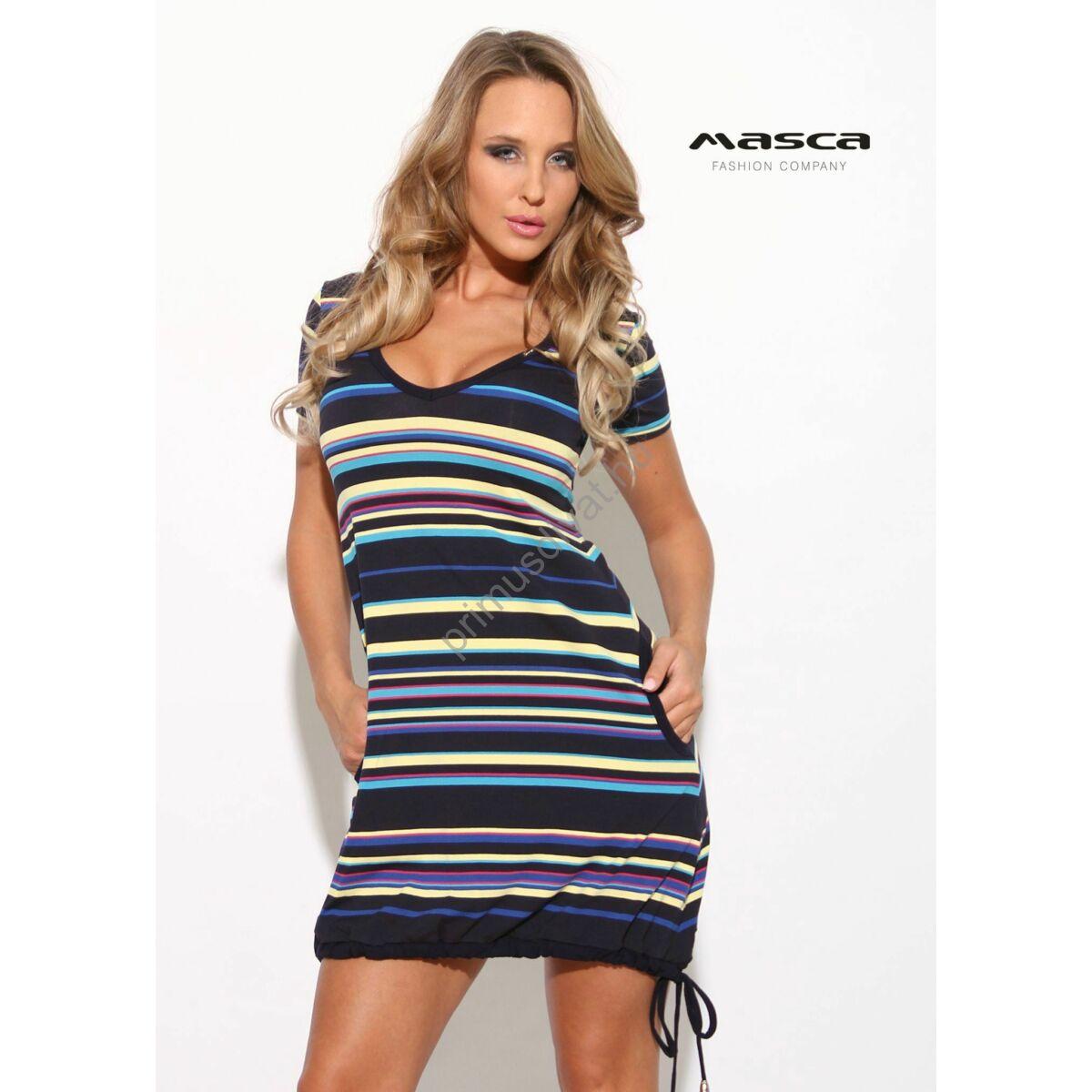 f046ac3020 Kép 1/1 - Masca Fashion V-nyakú, A-vonalú rövid ujjú zsebes lezser kék -sárga-piros csíkos tunika, miniruha, alján befűzött kötővel