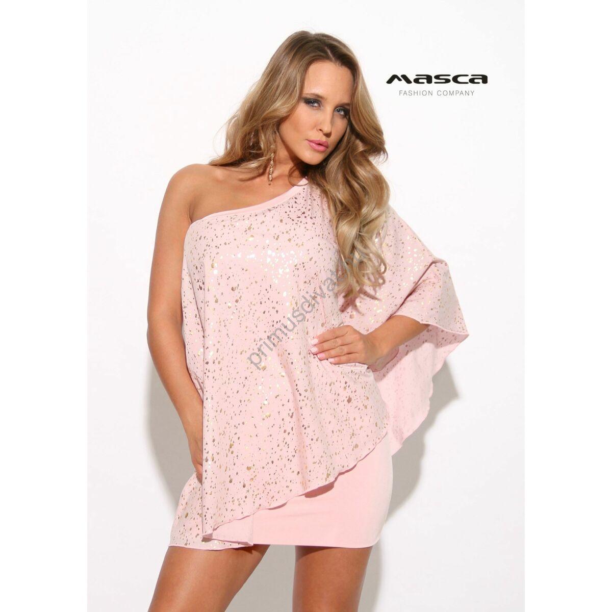 4f869c64a Masca Fashion kétrétegű, aszimmetrikus pasztell rózsaszín miniruha bő,  nyomott arany mintás felső réteggel - Mf917-71
