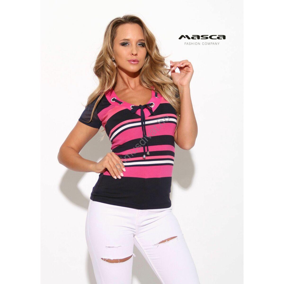 a330c8d200 Kép 1/1 - Masca Fashion ékszerkarikás fűzős V-nyakú pink-sötétkék csíkos rövid  ujjú felső