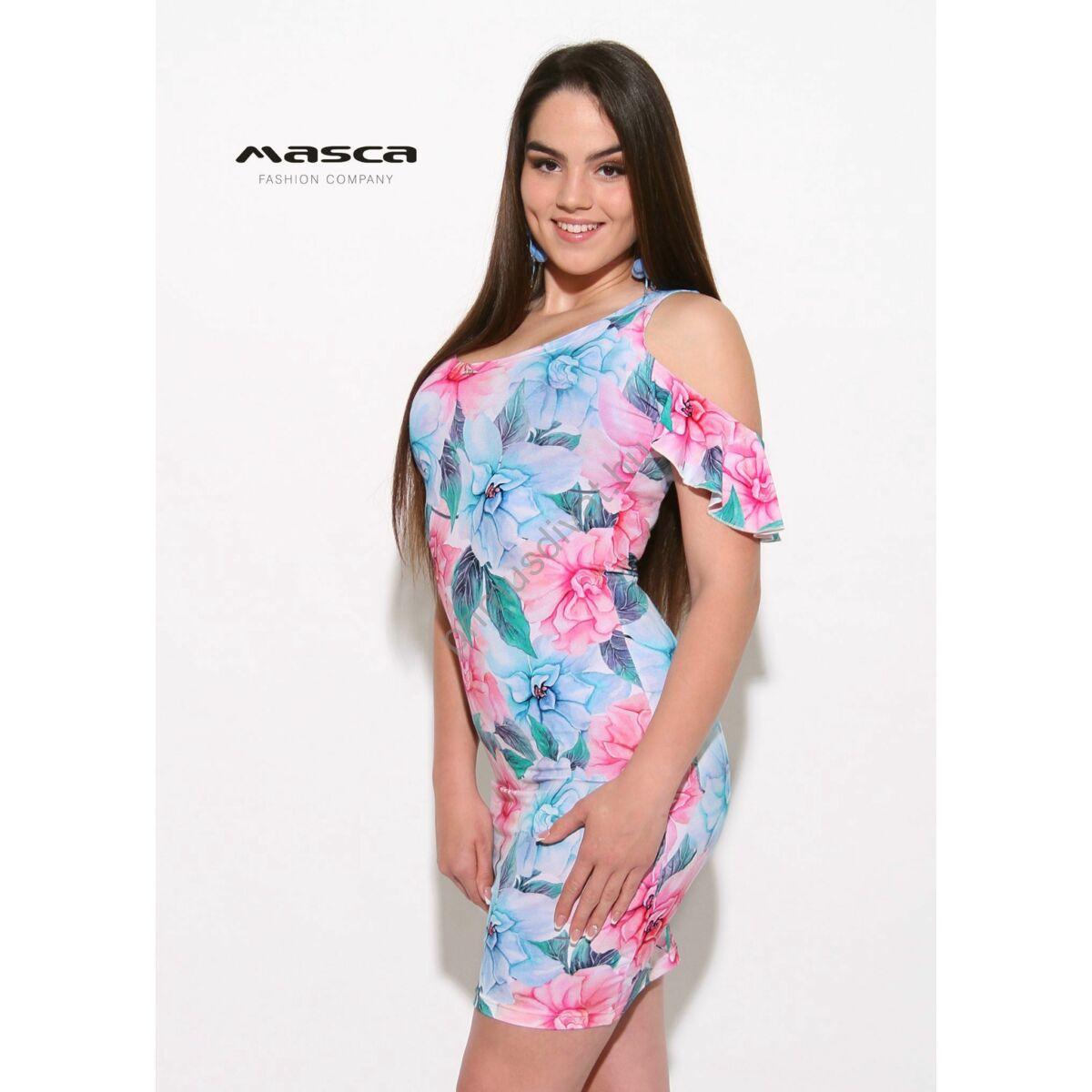 4479a64d0d9d Kép 1/1 - Masca Fashion nyitott vállú, fodros rövid lepke ujjú pasztell  virágmintás szűk miniruha