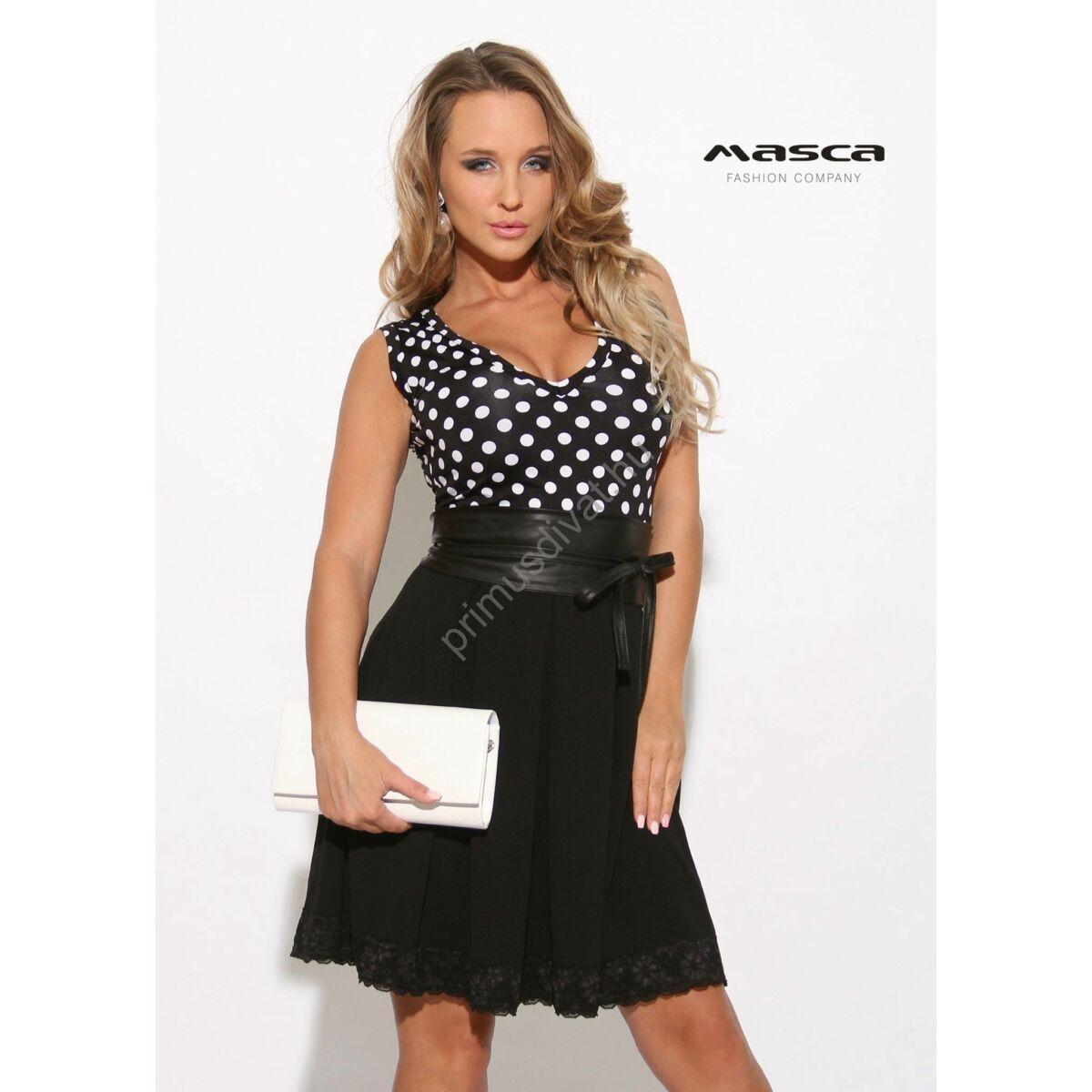 7d2f9d8fa7 Kép 1/1 - Masca Fashion loknis csipkeszegélyes fekete szoknyarészű, fehér  pöttyös ujjatlan alkalmi ruha, megkötős műbőr övvel