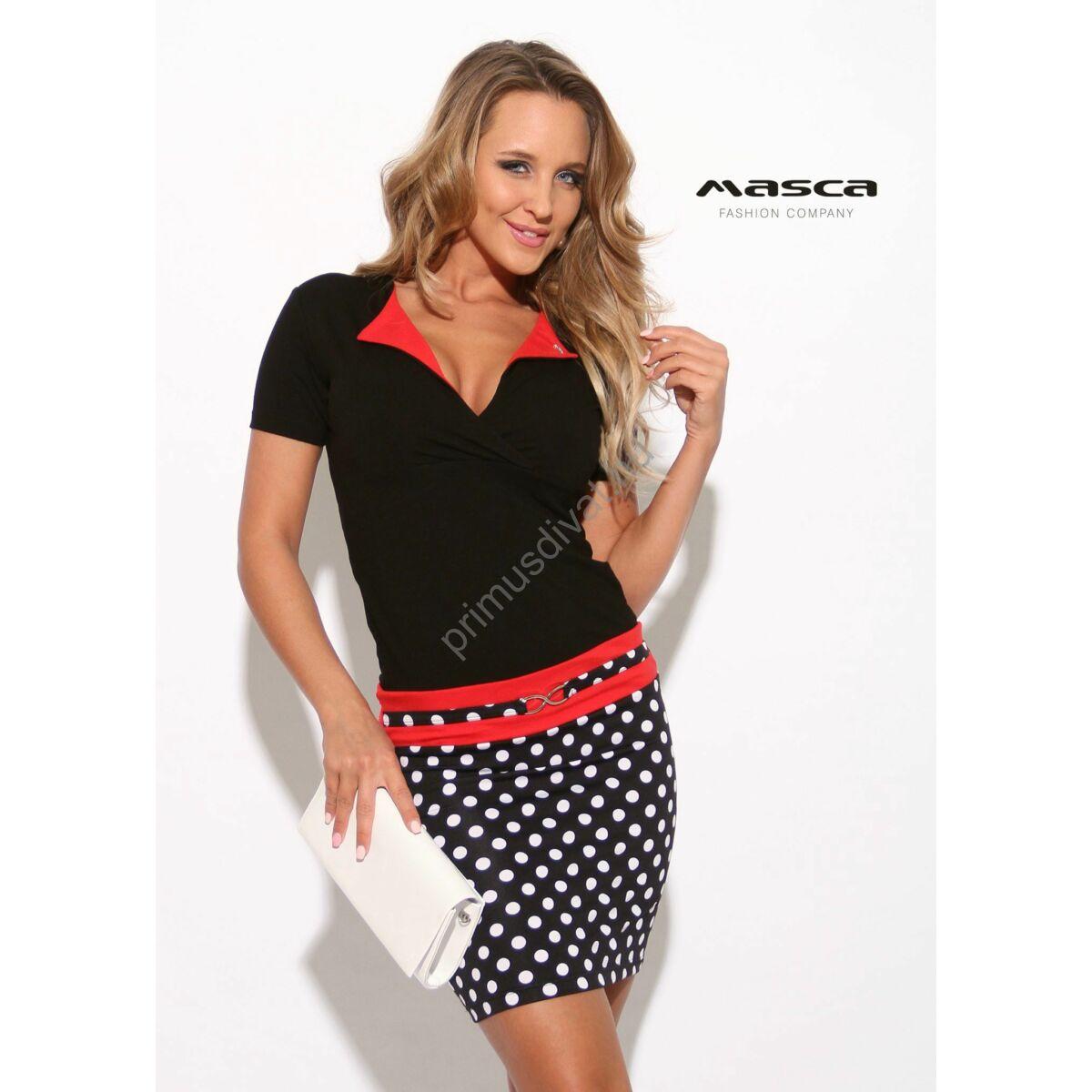 92941616a51a Kép 1/1 - Masca Fashion piros betétes kihajtós galléros fekete, fehér  pöttyös szoknyarészű rövid ujjú miniruha, ékszerkapcsos övpánttal