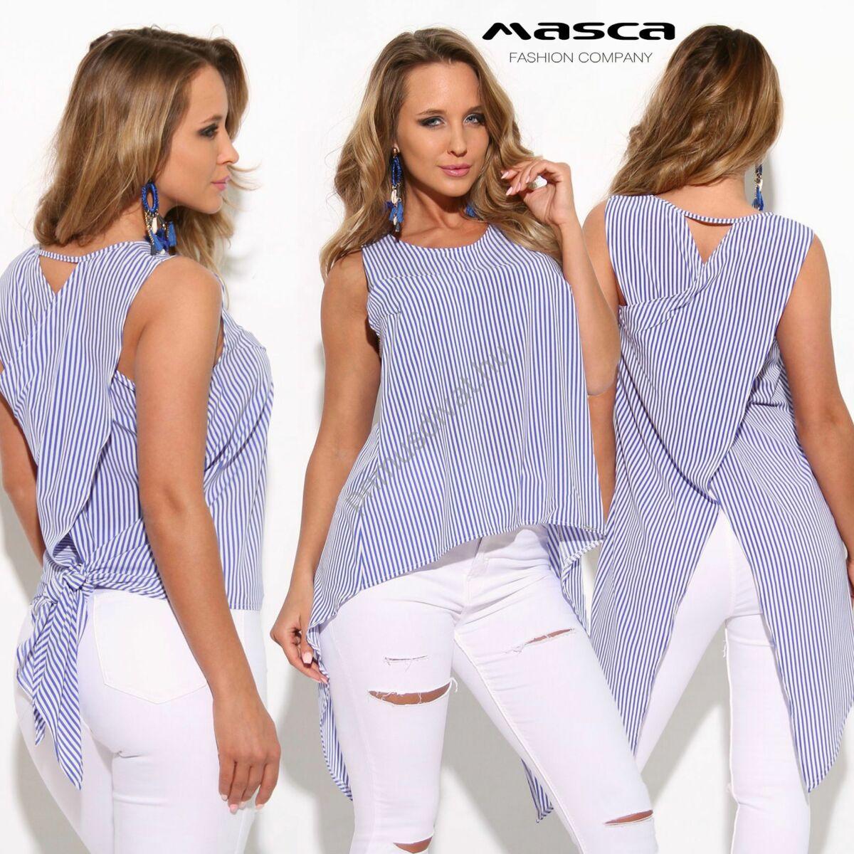 d442f71b11 Kép 1/2 - Masca Fashion ujjatlan kék-fehér csíkos lezser vászon felső,  hátán átlapolt hosszabb szabással