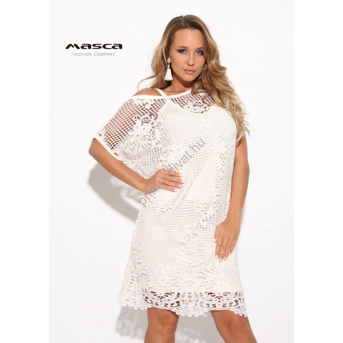 88eec48d64 Kép 1/1 - Masca Fashion kétrészes rövid ujjú törtfehér csipkés ruha,  spagettipántos szűkebb viszkóz alsó résszel