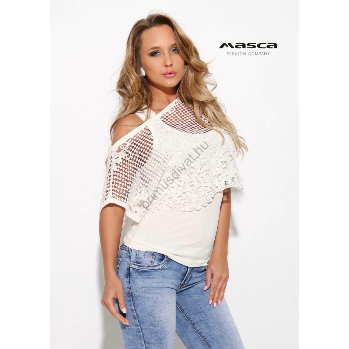 1be5ad3986 Kép 1/1 - Masca Fashion trikópántos törtfehér felső, különálló csónaknyakú  rövid csipke felsőrésszel