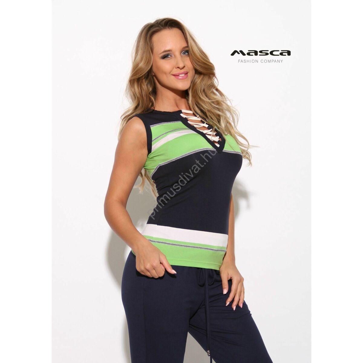 0893ee2e53 Kép 1/1 - Masca Fashion fűzős dekoltázsú zöld-fehér csíkos sötétkék  ujjatlan felső