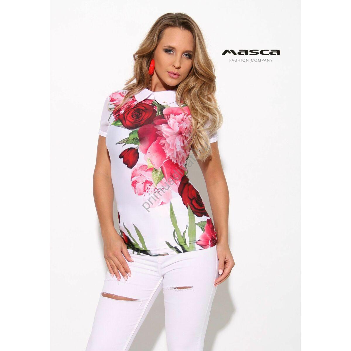 bfccc3b956 Kép 1/1 - Masca Fashion fehér galléros rövid muszlin ujjú, piros  virágmintás szűk felső