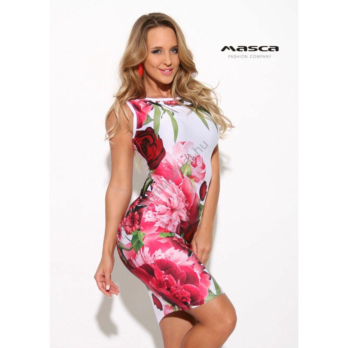 639aa2bd8681 Kép 1/1 - Masca Fashion ujjatlan, csónaknyakú piros virágmintás fehér szűk  miniruha