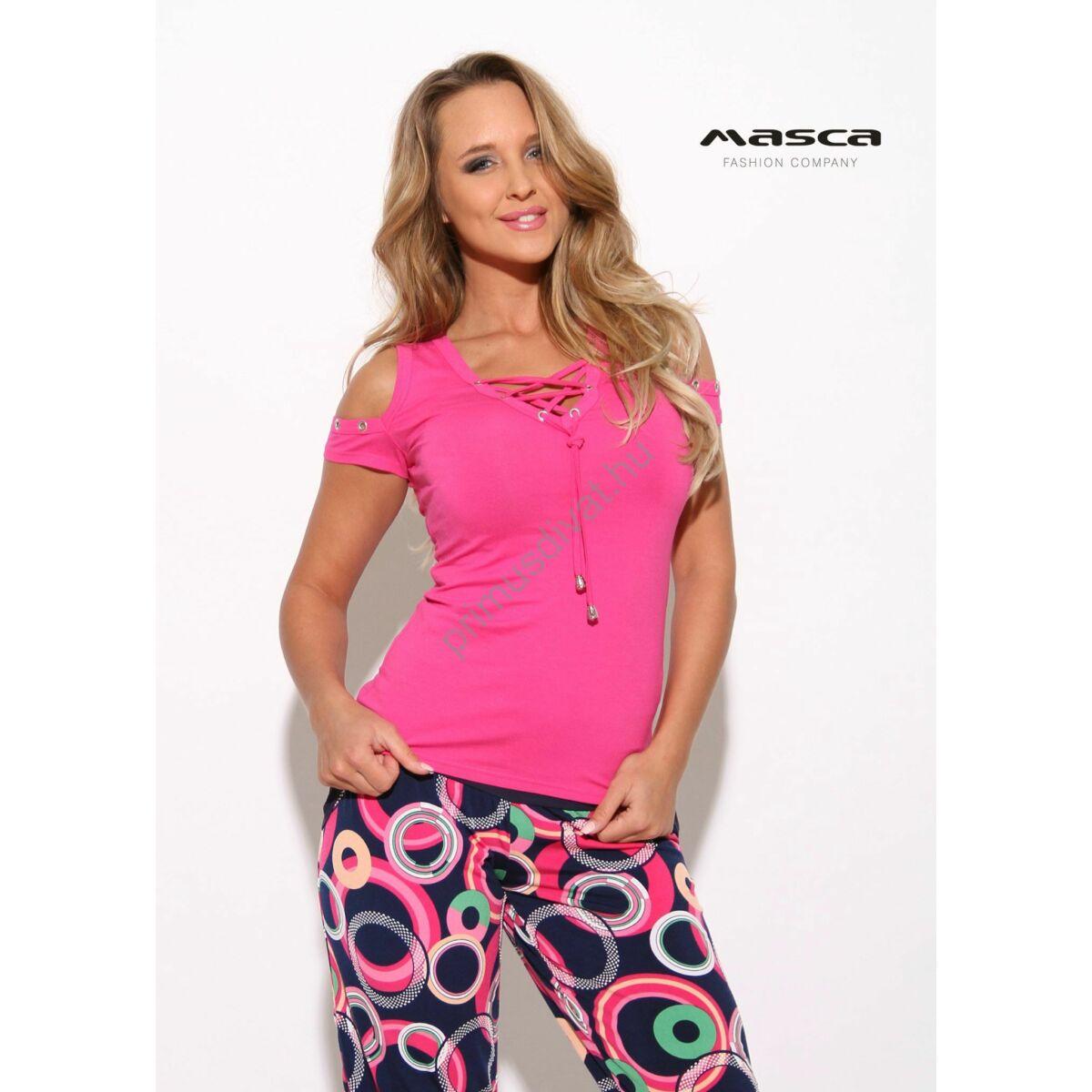 e840146645 Kép 1/1 - Masca Fashion fűzős V-nyakú, nyitott vállú rövid ujjú pink felső
