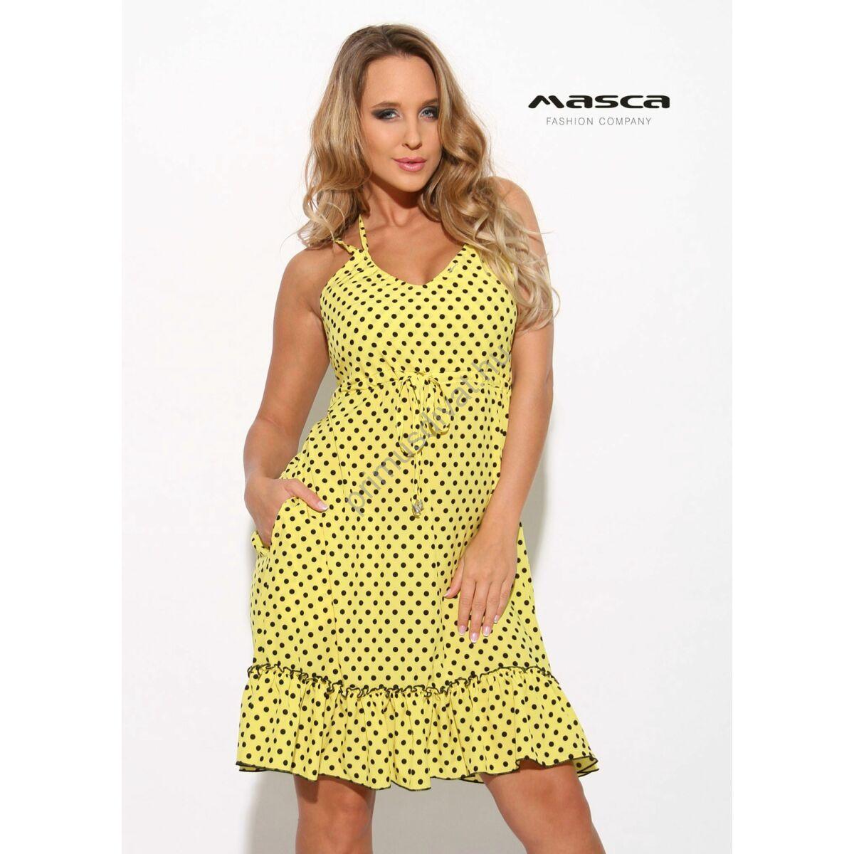 8048af4352 Kép 1/1 - Masca Fashion dupla spagettipántos, fodros aljú A-vonalú fekete  pöttyös sárga lenge zsebes ruha, vékony szövött anyagból