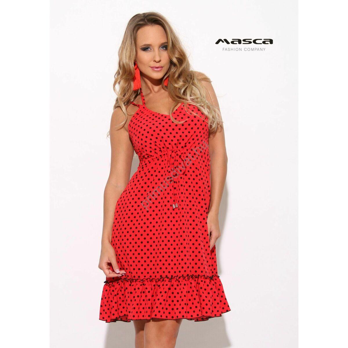 03169d17d8 Kép 1/1 - Masca Fashion dupla spagettipántos, fodros aljú A-vonalú fekete  pöttyös piros lenge zsebes ruha, vékony szövött anyagból