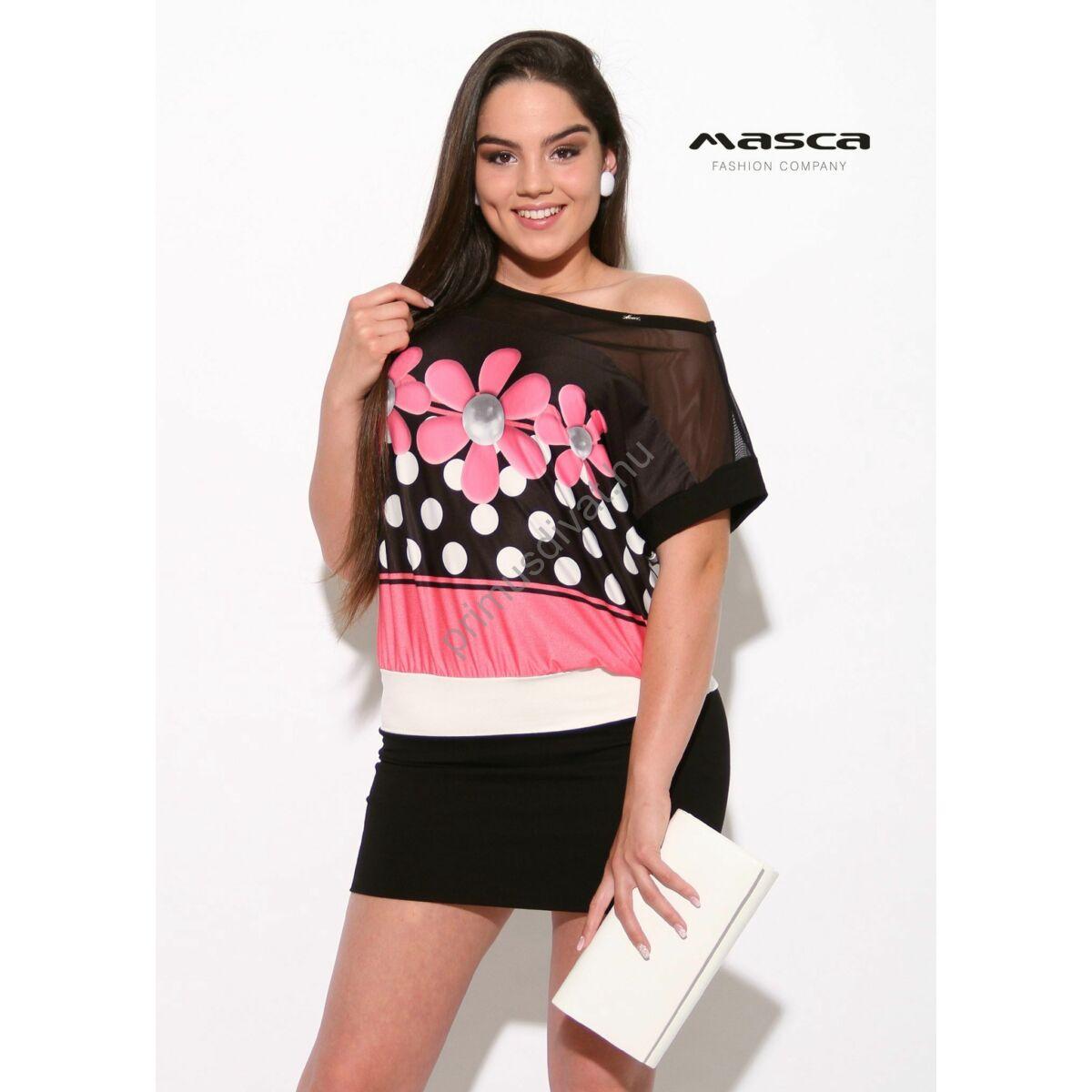 9030007636 Kép 1/1 - Masca Fashion muszlin betétes rövid ujjú pink virágmotívumos,  pöttyös fekete lezser tunika, miniruha