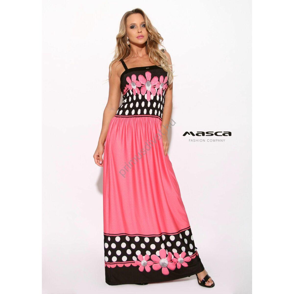 26dd658941 Kép 1/1 - Masca Fashion fonott pántos, gumírozott mellrészű pink-fekete maxi  ruha pöttyökkel, virágmotívummal
