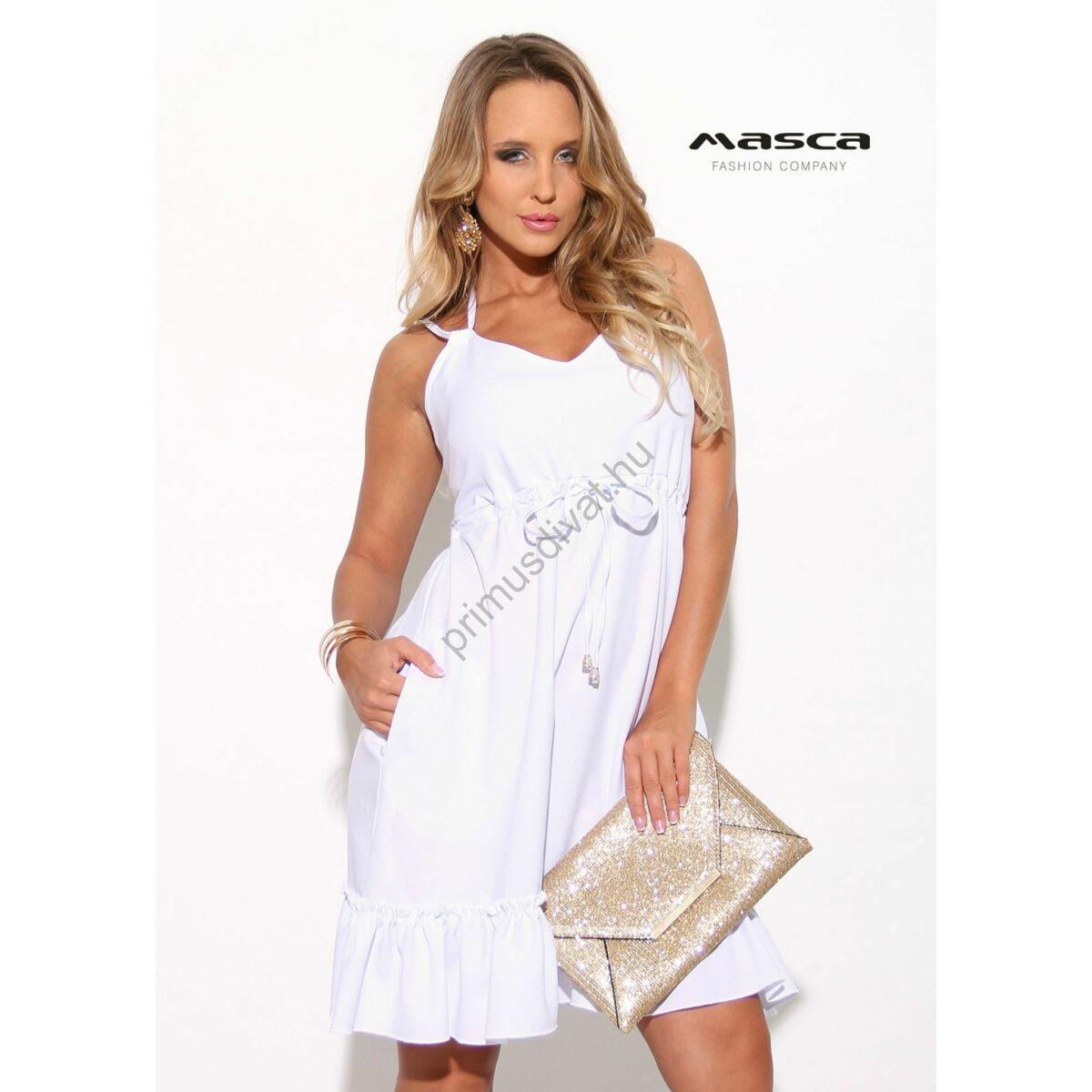 4a5bb9d789 Kép 1/1 - Masca Fashion dupla spagettipántos nyakba kötős fodros aljú  A-vonalú fehér lenge zsebes ruha