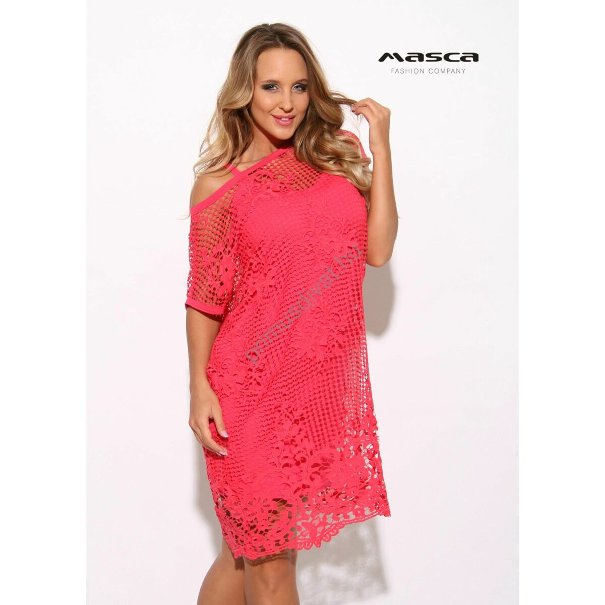 d747b4737a Kép 1/1 - Masca Fashion kétrészes rövid ujjú pink színű csipkés ruha,  spagettipántos szűkebb viszkóz alsó résszel