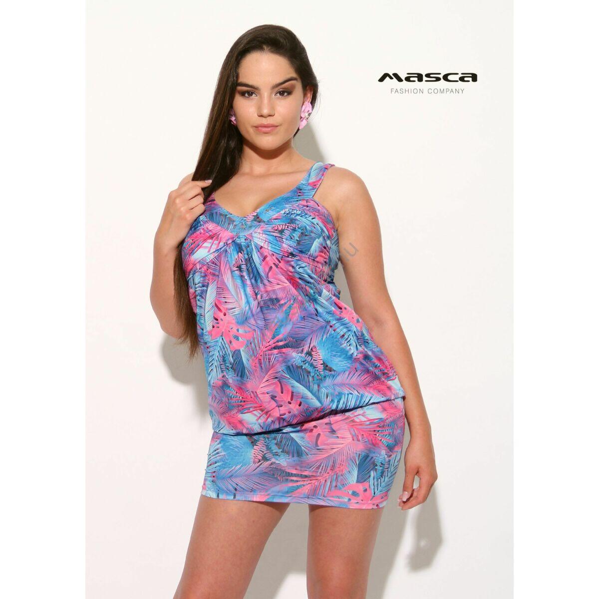 55e49e04a9 Kép 1/1 - Masca Fashion ujjatlan, ráncolt mellrészű kék-pink  dzsungelmintás, csípőben szűkebb laza tunika, miniruha
