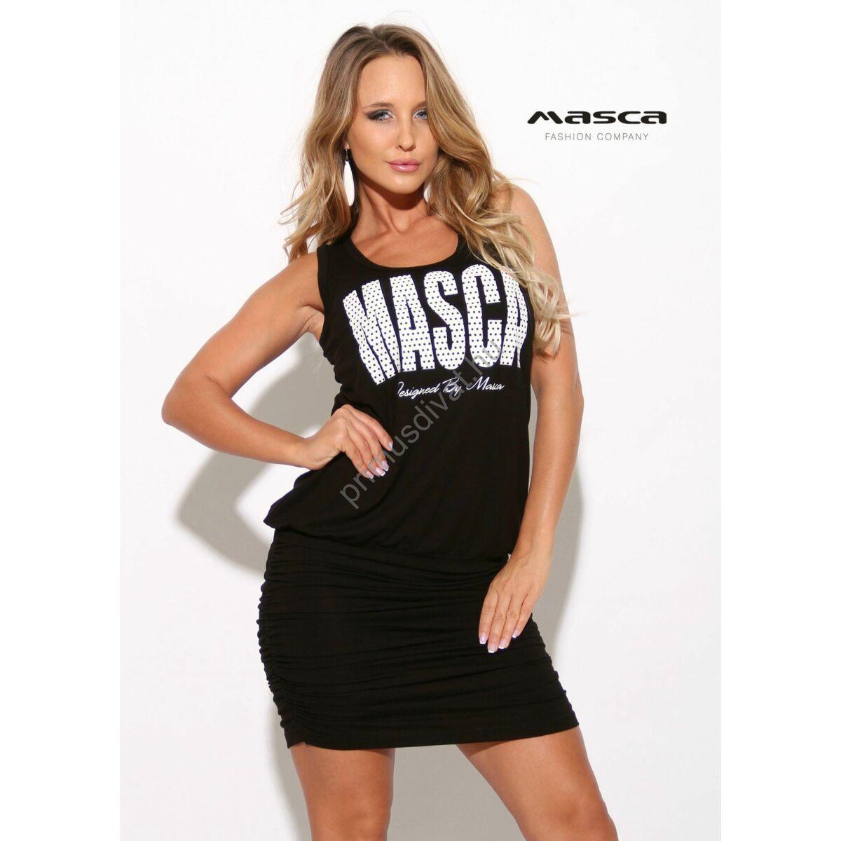 e7017061f2 Kép 1/1 - Masca Fashion trikópántos fekete viszkóz miniruha, ráncolt  szoknyarésszel, pöttyös fehér márkafelirattal