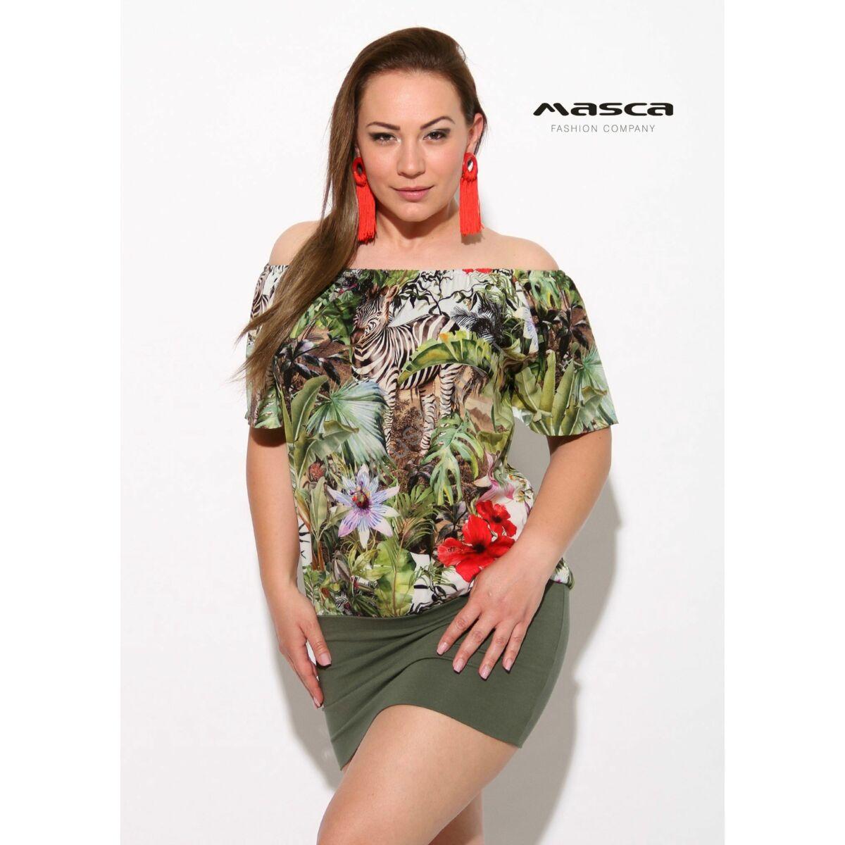 2a388b9183 Kép 1/1 - Masca Fashion gumis vállra húzós, zebrás dzsungelmintás laza  rövid ujjú tunika, miniruha, szűkebb keki aljjal