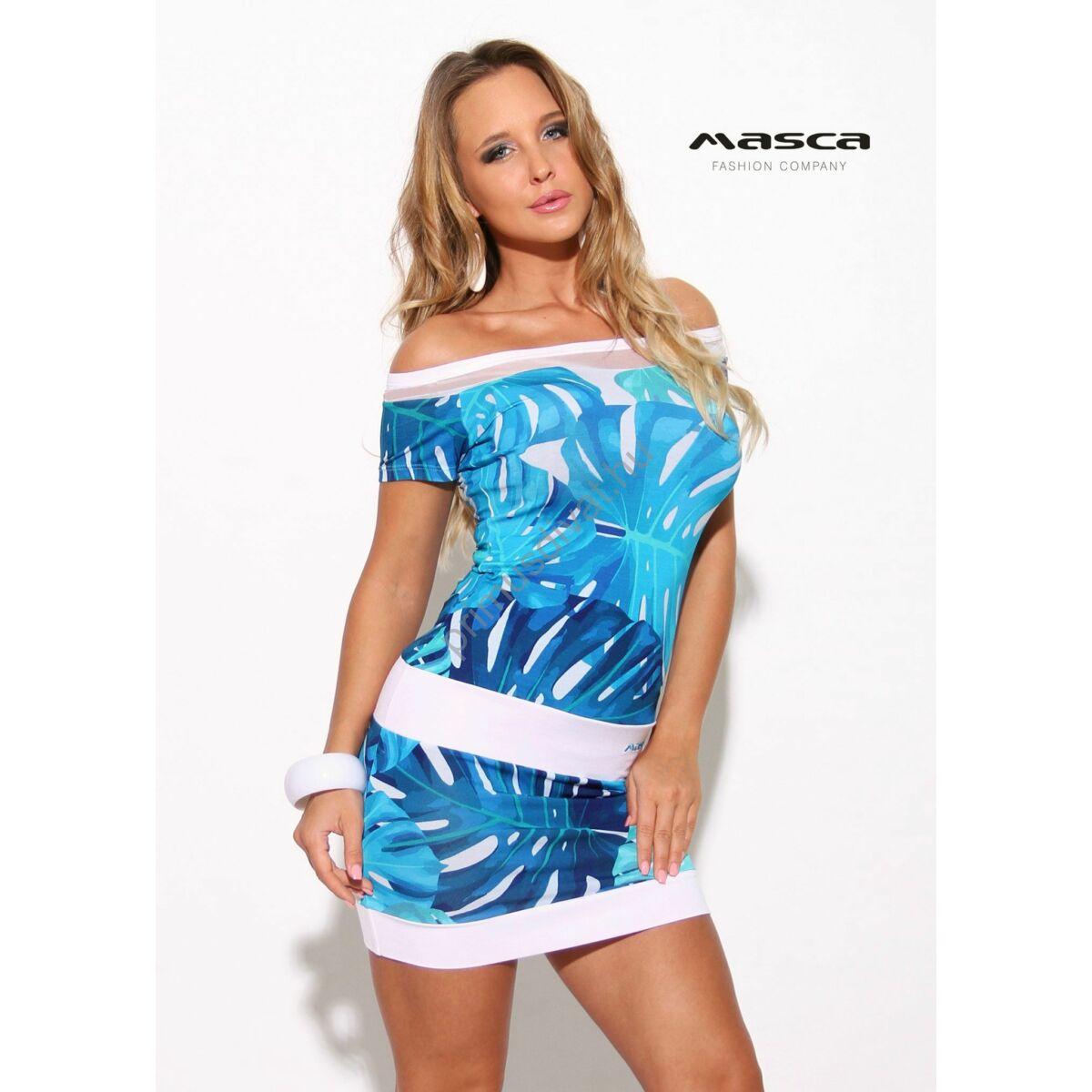 7200c4708def Kép 1/1 - Masca Fashion muszlin betétes vállra húzható csónaknyakú, kék  filodendron mintás szűk rövid ujjú miniruha