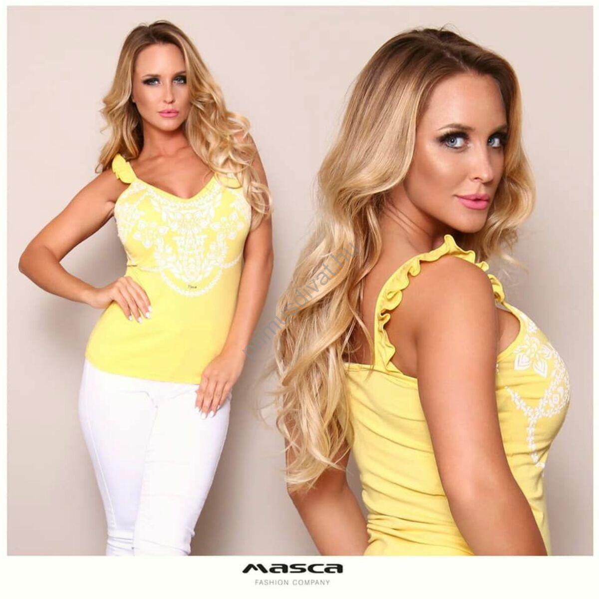 Masca Fashion fodorszegélyes pántos ujjatlan szűk sárga felső, elején nyomott fehér növénymintával