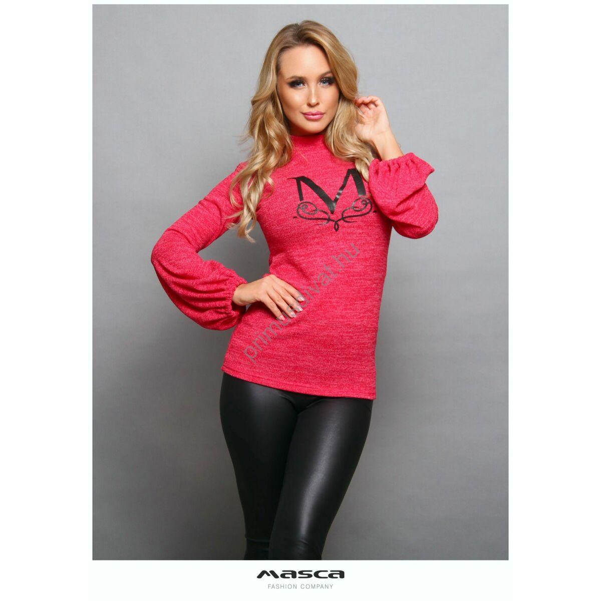 Masca Fashion vékony kötött pink-melange, buggyos hosszú ujjú, állónyakú felső, pulóver
