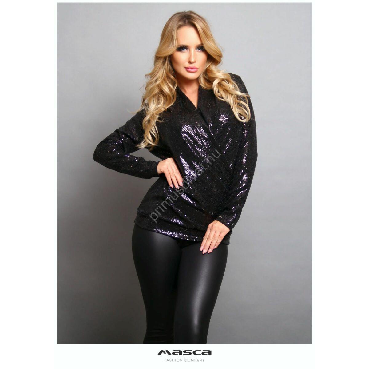 Masca Fashion átlapolt, ráncolt elejű hosszú ujjú, csillogó flitteres fekete alkalmi felső