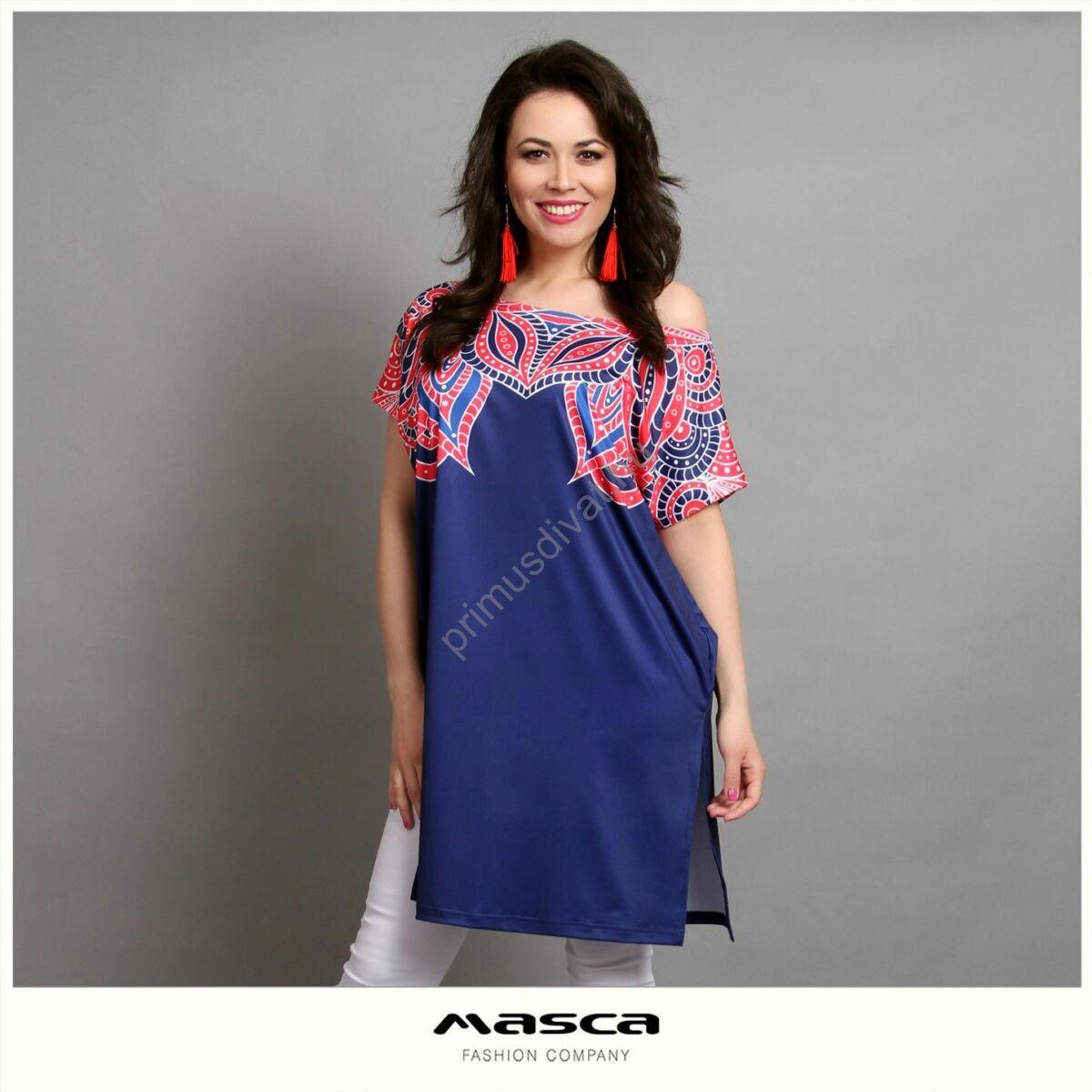Masca Fashion vállra húzható csónaknyakú, piros-fehér mintás kék rövid ujjú lezser tunika, oldalain felsliccelve