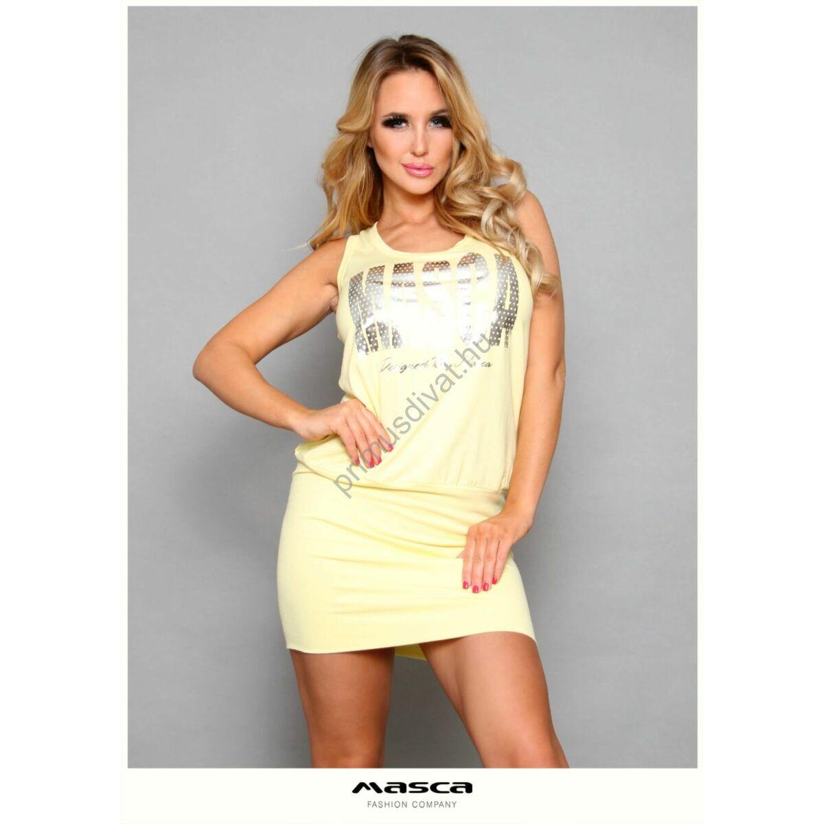 Masca Fashion trikópántos sárga viszkóz ujjatlan miniruha, szűkebb szoknyarésszel, pöttyös ezüst márkafelirattal