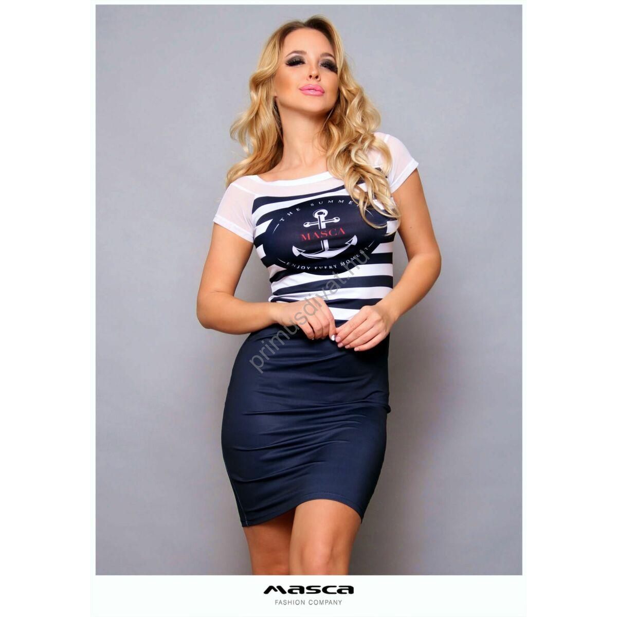 Masca Fashion tengerészkék-fehér csíkos felsőrészű, necc betétes rövid ujjú szűk miniruha, mellén márkafeliratos horgonymintával