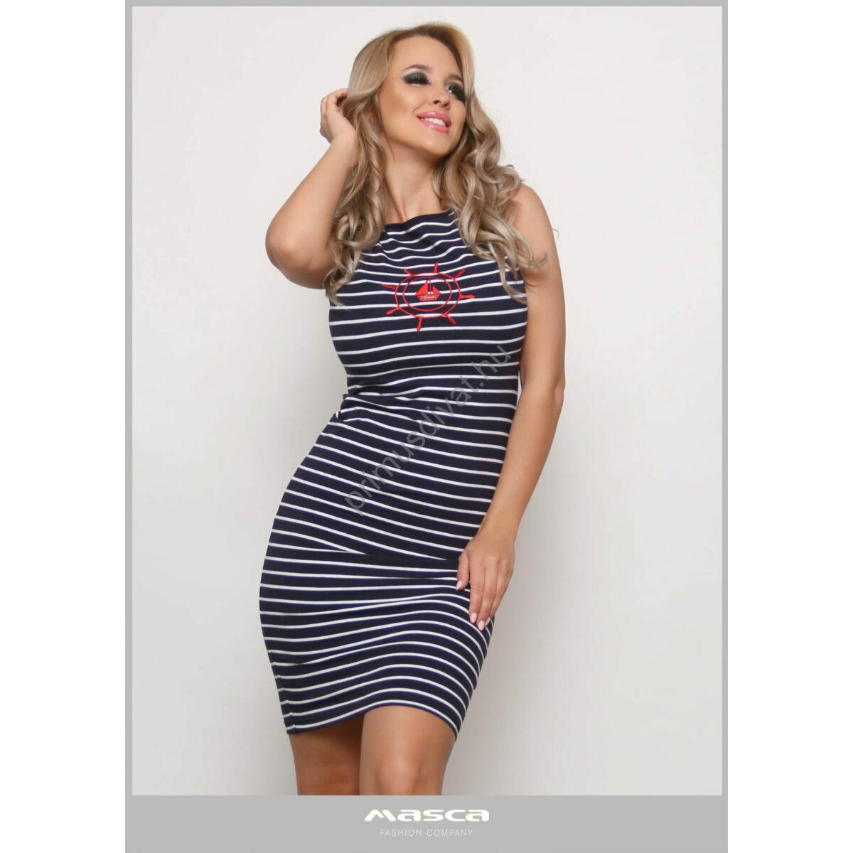 Masca Fashion kék-fehér tengerészcsíkos, csónaknyakú ujjatlan szűk miniruha, mellén piros vitorlásmintával