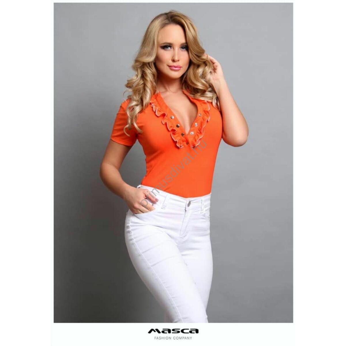 Masca Fashion fodorszegélyes patentos dekoltázsú, rövid ujjú szűk narancssárga felső