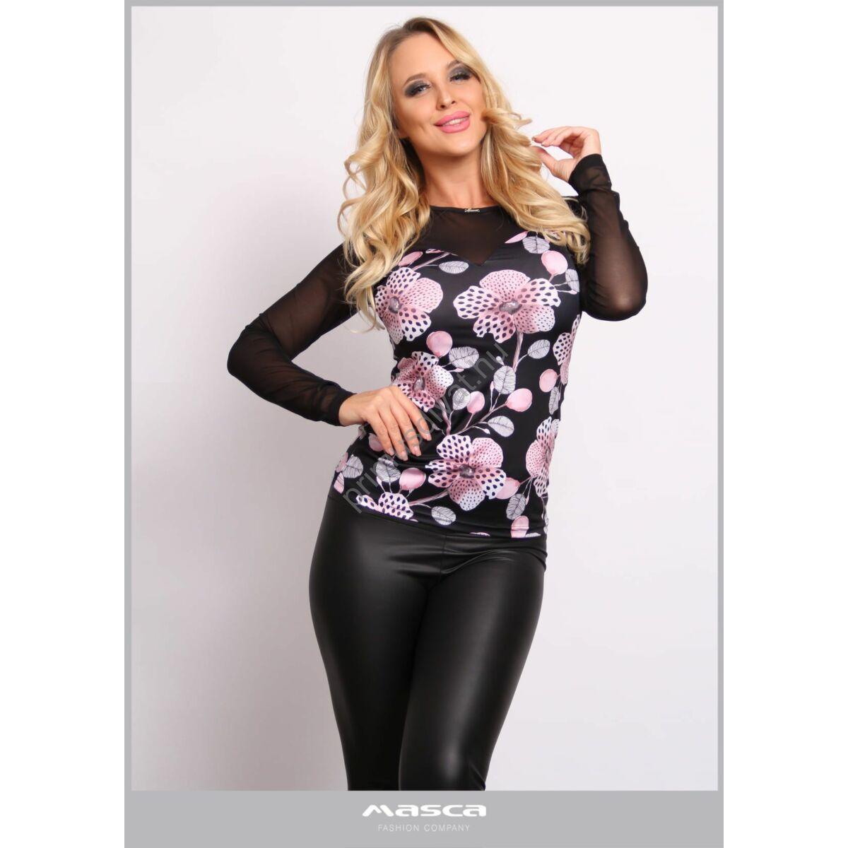 Masca Fashion rugalmas muszlin hosszú ujjú, orgonalila virágmintás fekete szűk felső