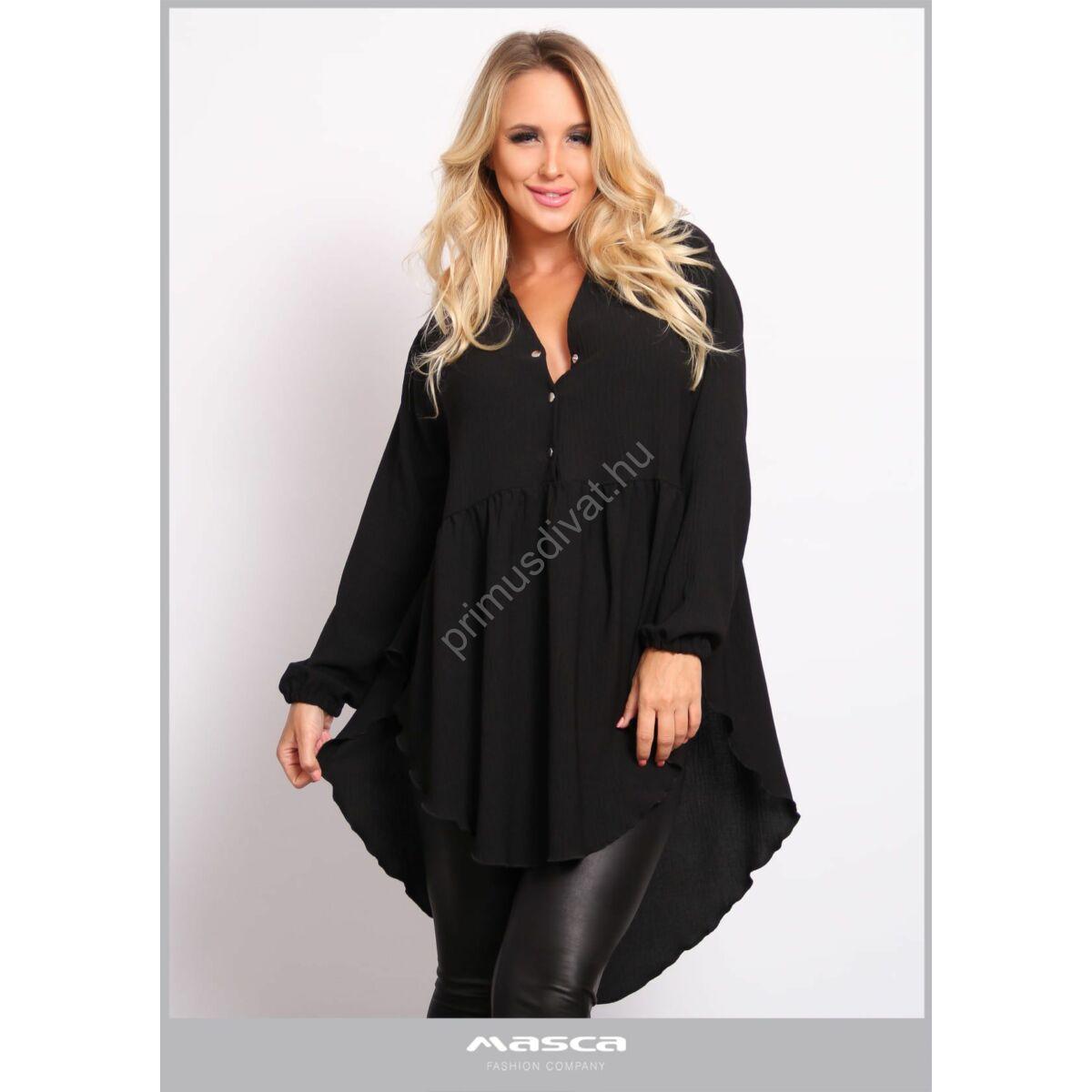 Masca Fashion patentos dekoltázsú, mell alatt elvágott bő, lezser hosszú ujjú blúz, tunika, háta alján hosszabb íves szabással,kreppes hatású szövött anyagból