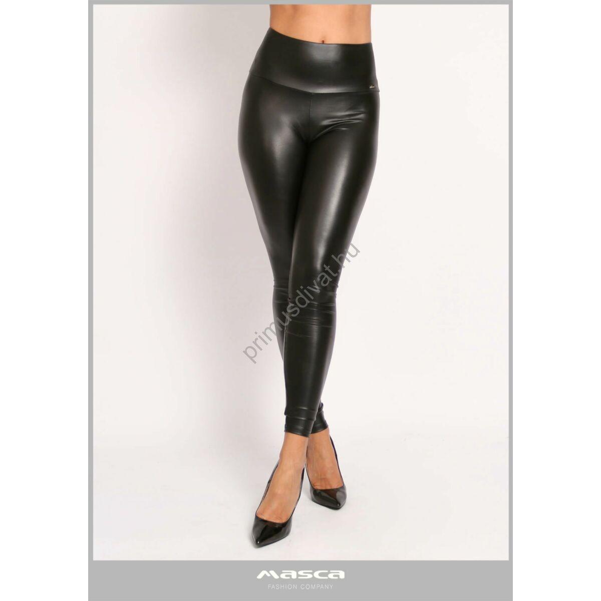 Masca Fashion magas derekú bőrhatású rugalmas fekete leggings, cicanadrág, hátán zsebfedőkkel