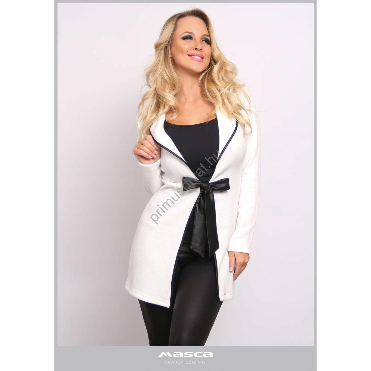 Masca Fashion fekete műbőr szegélyes kihajtós galléros, megkötős elejű rugalmas kötött törtfehér kardigán