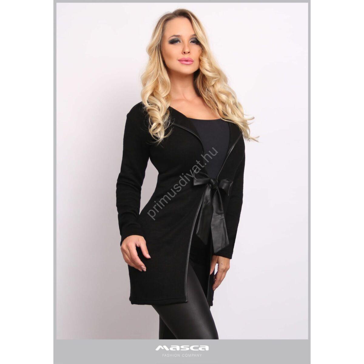 Masca Fashion fekete műbőr szegélyes kihajtós galléros, megkötős elejű rugalmas kötött fekete kardigán