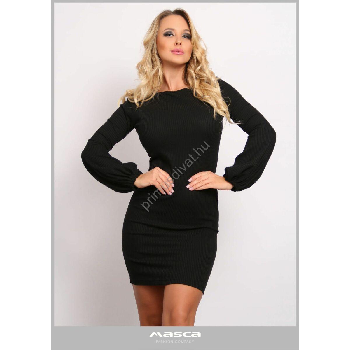 Masca Fashion csónaknyakú, buggyos hosszú ujjú fekete rugalmas, bordás kötött ruha