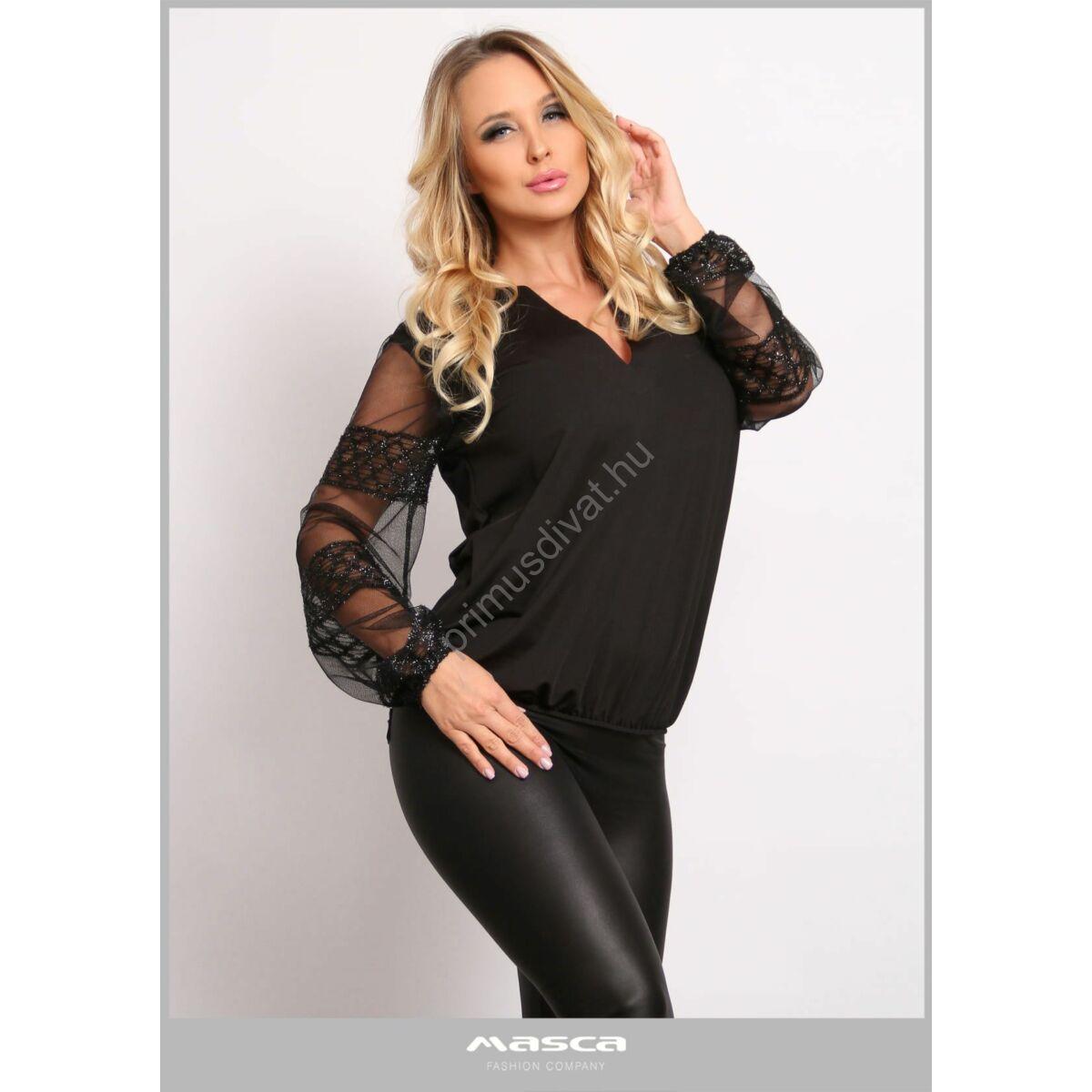 Masca Fashion V-nyakkivágású, buggyos csillogó mintás muszlin hosszú ujjú fekete alkalmi felső, csípőjén gumis behúzással