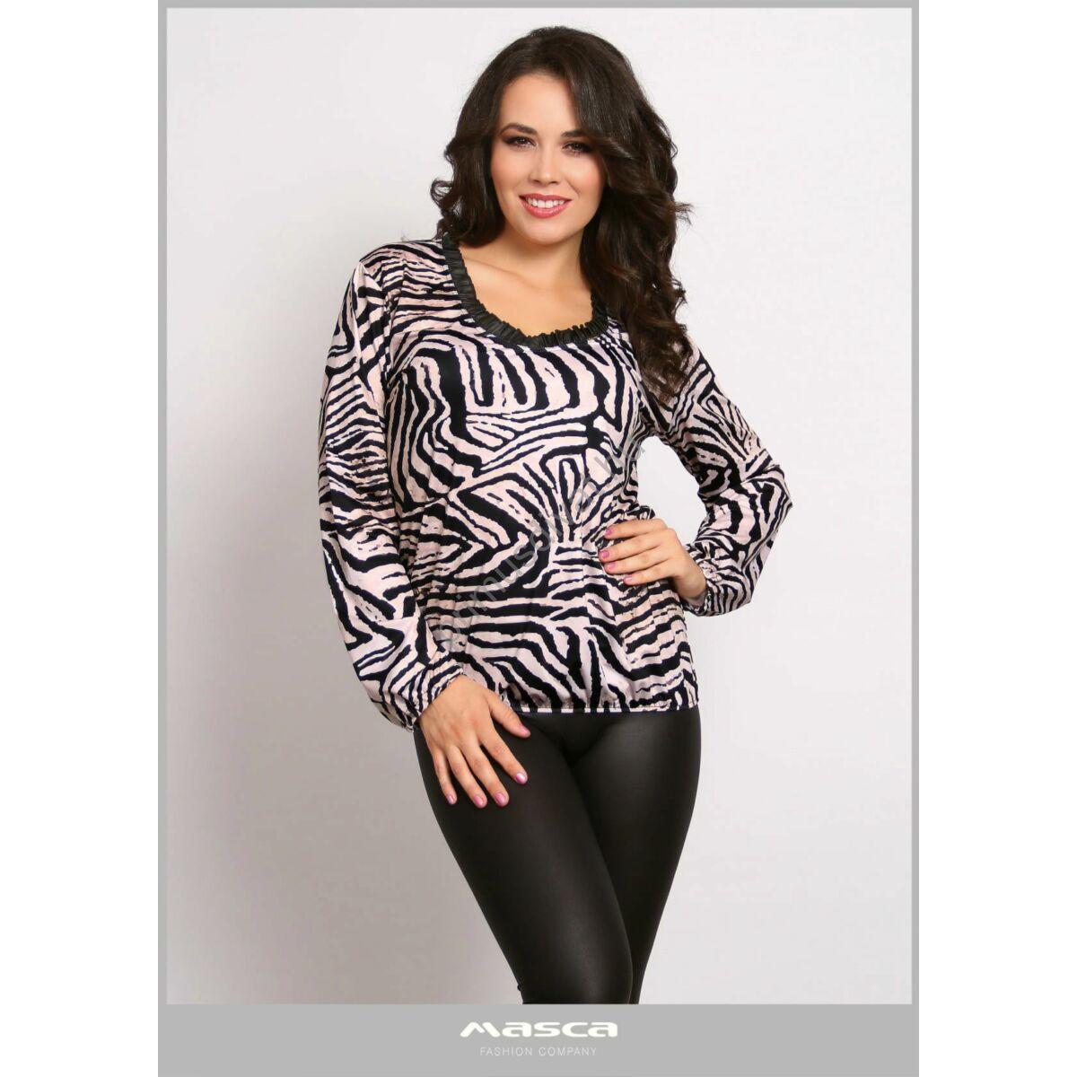 Masca Fashion fodorszegélyes nyakú, drapp-fekete zebracsíkos hosszú ujjú felső, csípőjén gumis behúzással