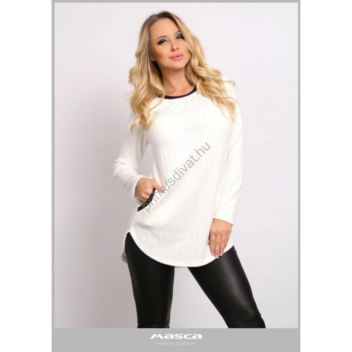 Masca Fashion hosszú ujjú magában mintás kötött fehér zsebes tunika, alján íves szabással, fekete szegőkkel