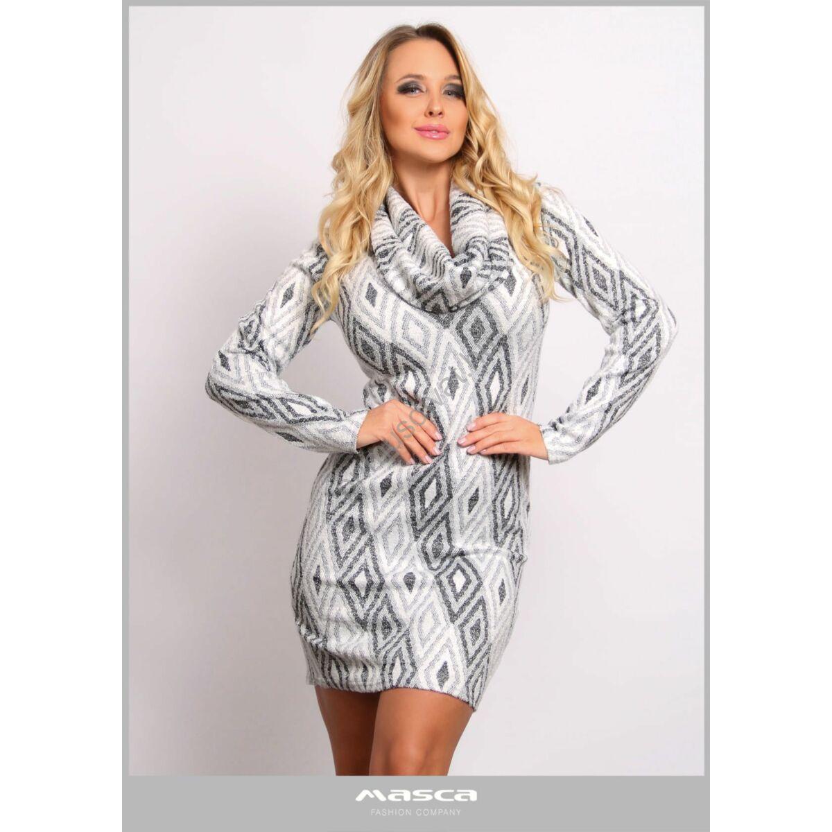 Masca Fashion kámzsanyakú, ezüst lurex szálas rugalmas kötött szürke rombuszmintás hosszú ujjú miniruha