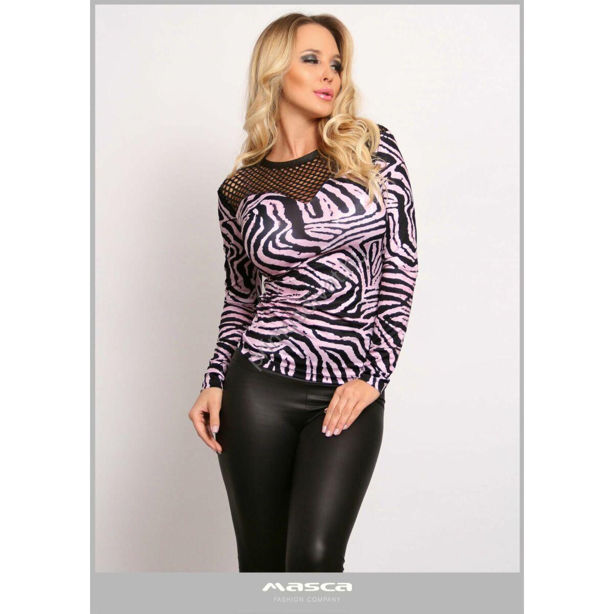 Masca Fashion környakas, necc betétes vállú rózsaszín-fekete zebracsíkos szűk hosszú ujjú felső