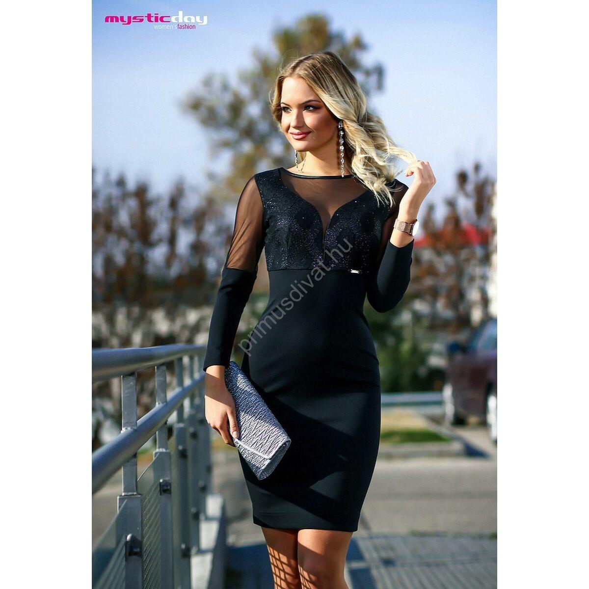 9b20defcad Kép 1/1 - Mystic Day rugalmas muszlin betétes ujjú, csillámos mintás  mellrészű fekete alkalmi ruha