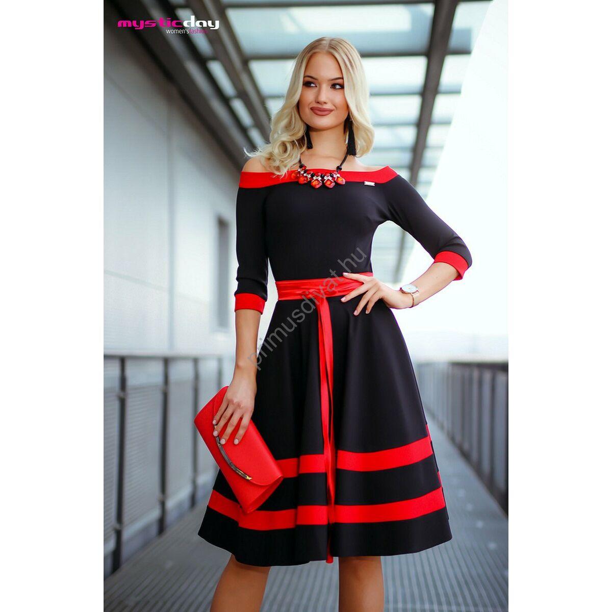 Mystic Day vállra szabott alsószoknyás loknis fekete-piros alkalmi ruha 2ff1de3975