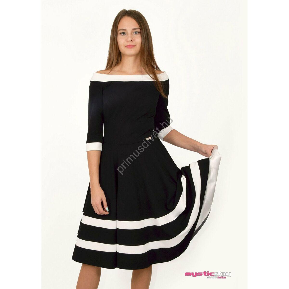 Mystic Day vállra szabott alsószoknyás loknis fekete-fehér alkalmi ruha 7153802ede