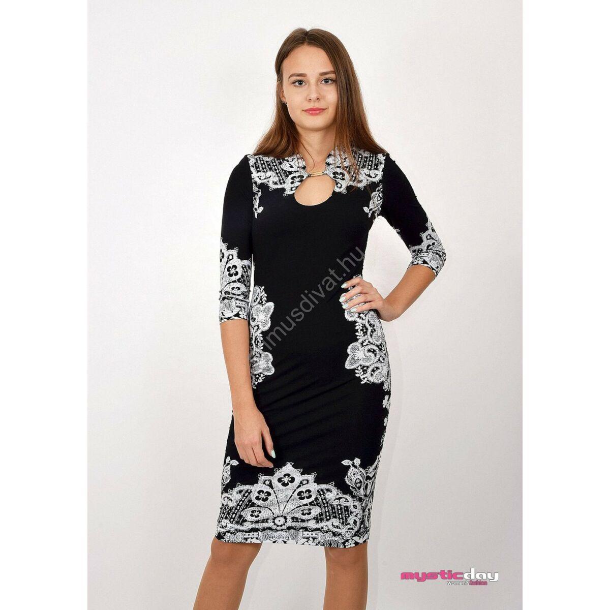 Mystic Day fehér csipkemintás fekete viszkóz ruha 55bb60e451