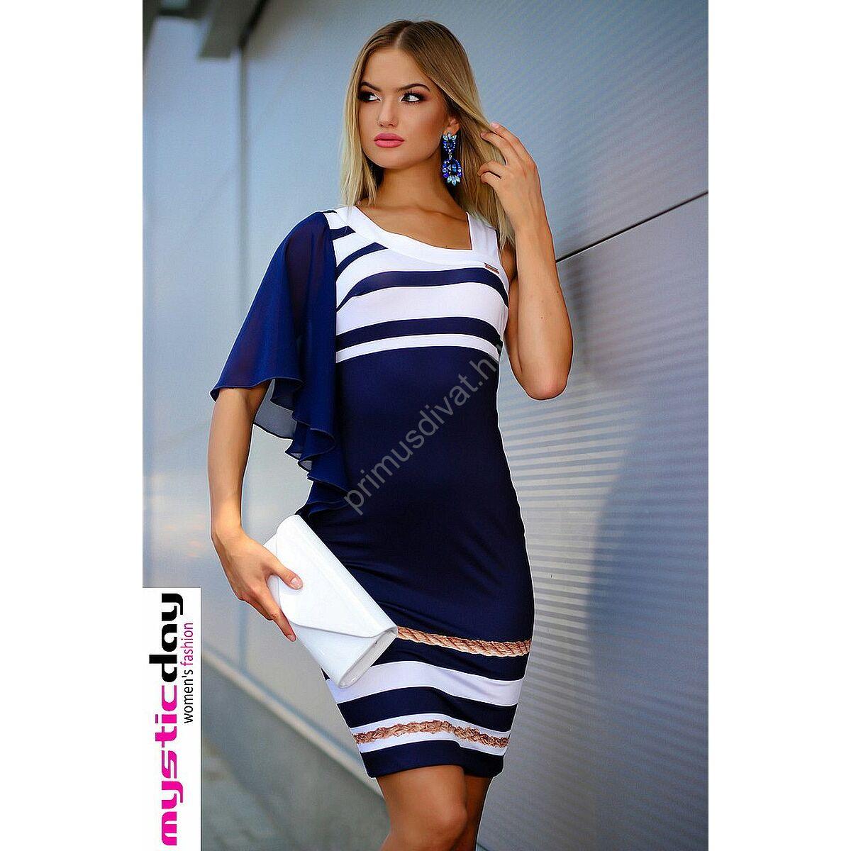 8367cf15f3 Kép 1/2 - Mystic Day aszimmetrikus nyakkivágású, muszlin lepkeujjú  kék-fehér tengerészcsíkos rugalmas anyagú ruha